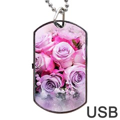 Flowers Roses Bouquet Art Abstract Dog Tag Usb Flash (one Side)