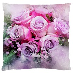 Flowers Roses Bouquet Art Abstract Large Cushion Case (two Sides)