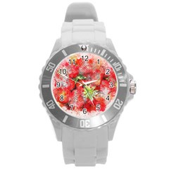 Strawberries Fruit Food Art Round Plastic Sport Watch (l)