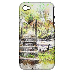 River Bridge Art Abstract Nature Apple Iphone 4/4s Hardshell Case (pc+silicone)