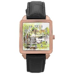 River Bridge Art Abstract Nature Rose Gold Leather Watch