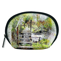 River Bridge Art Abstract Nature Accessory Pouches (medium)