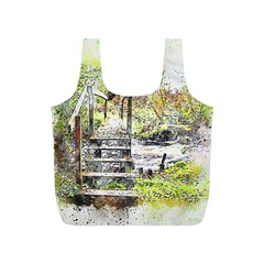 River Bridge Art Abstract Nature Full Print Recycle Bags (s)