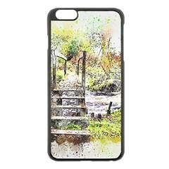 River Bridge Art Abstract Nature Apple Iphone 6 Plus/6s Plus Black Enamel Case
