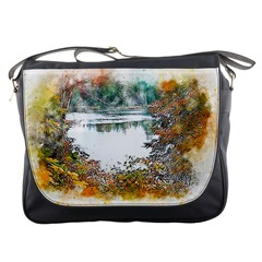 River Water Art Abstract Stones Messenger Bags