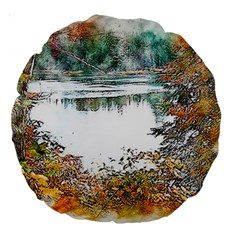 River Water Art Abstract Stones Large 18  Premium Round Cushions