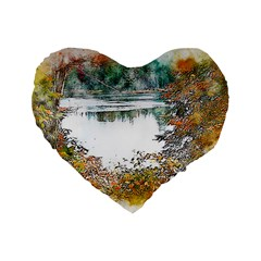 River Water Art Abstract Stones Standard 16  Premium Heart Shape Cushions