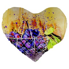 Fruit Plums Art Abstract Nature Large 19  Premium Flano Heart Shape Cushions