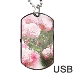 Flowers Roses Art Abstract Nature Dog Tag Usb Flash (one Side)