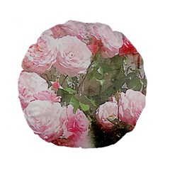Flowers Roses Art Abstract Nature Standard 15  Premium Round Cushions