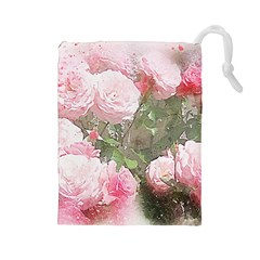 Flowers Roses Art Abstract Nature Drawstring Pouches (large)