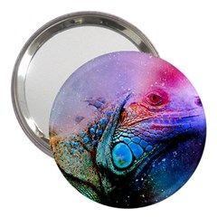 Lizard Reptile Art Abstract Animal 3  Handbag Mirrors