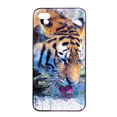 Tiger Drink Animal Art Abstract Apple Iphone 4/4s Seamless Case (black)