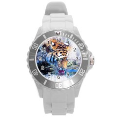 Tiger Drink Animal Art Abstract Round Plastic Sport Watch (l)