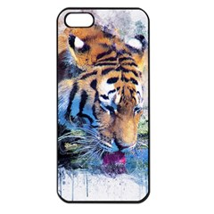 Tiger Drink Animal Art Abstract Apple Iphone 5 Seamless Case (black)