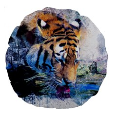 Tiger Drink Animal Art Abstract Large 18  Premium Round Cushions