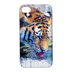 Tiger Drink Animal Art Abstract Apple Iphone 4/4s Hardshell Case With Stand