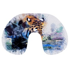 Tiger Drink Animal Art Abstract Travel Neck Pillows