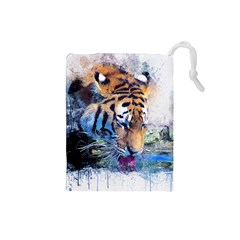 Tiger Drink Animal Art Abstract Drawstring Pouches (small)