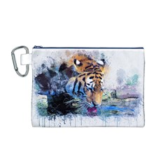 Tiger Drink Animal Art Abstract Canvas Cosmetic Bag (m)