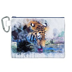 Tiger Drink Animal Art Abstract Canvas Cosmetic Bag (xl)