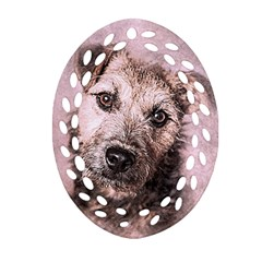 Dog Pet Terrier Art Abstract Oval Filigree Ornament (two Sides)