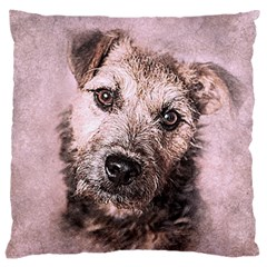 Dog Pet Terrier Art Abstract Large Cushion Case (two Sides)
