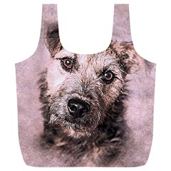 Dog Pet Terrier Art Abstract Full Print Recycle Bags (l)