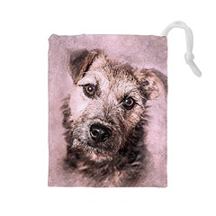 Dog Pet Terrier Art Abstract Drawstring Pouches (large)