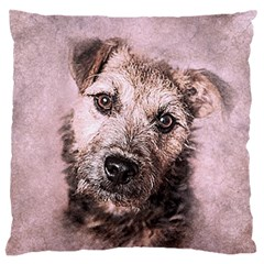 Dog Pet Terrier Art Abstract Standard Flano Cushion Case (one Side)