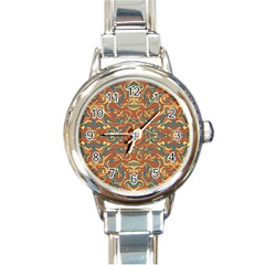 Multicolored Abstract Ornate Pattern Round Italian Charm Watch