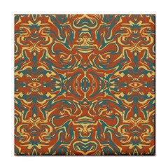 Multicolored Abstract Ornate Pattern Tile Coasters