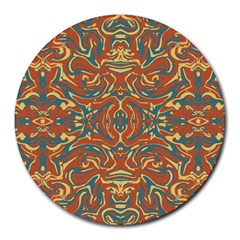 Multicolored Abstract Ornate Pattern Round Mousepads
