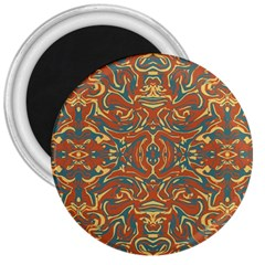 Multicolored Abstract Ornate Pattern 3  Magnets