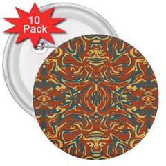 Multicolored Abstract Ornate Pattern 3  Buttons (10 Pack)