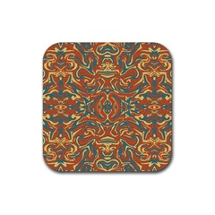 Multicolored Abstract Ornate Pattern Rubber Square Coaster (4 Pack)