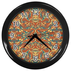 Multicolored Abstract Ornate Pattern Wall Clocks (black)