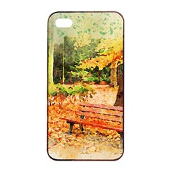 Tree Park Bench Art Abstract Apple Iphone 4/4s Seamless Case (black)