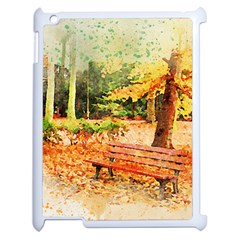 Tree Park Bench Art Abstract Apple Ipad 2 Case (white)