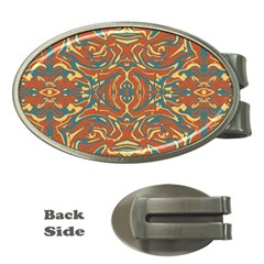 Multicolored Abstract Ornate Pattern Money Clips (oval)