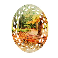 Tree Park Bench Art Abstract Ornament (oval Filigree)