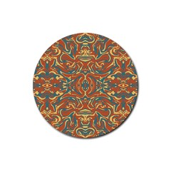 Multicolored Abstract Ornate Pattern Rubber Round Coaster (4 Pack)