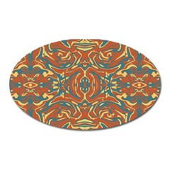Multicolored Abstract Ornate Pattern Oval Magnet