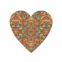 Multicolored Abstract Ornate Pattern Heart Magnet