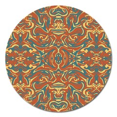 Multicolored Abstract Ornate Pattern Magnet 5  (round)