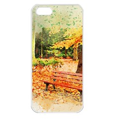 Tree Park Bench Art Abstract Apple Iphone 5 Seamless Case (white)