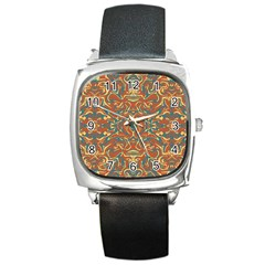 Multicolored Abstract Ornate Pattern Square Metal Watch