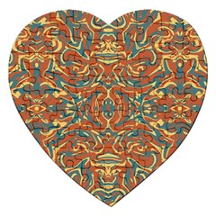 Multicolored Abstract Ornate Pattern Jigsaw Puzzle (heart)