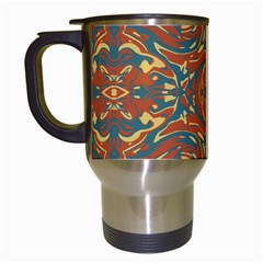 Multicolored Abstract Ornate Pattern Travel Mugs (white)