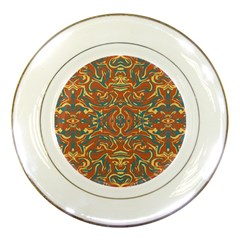 Multicolored Abstract Ornate Pattern Porcelain Plates
